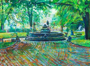 Noel Hefele oil painting of Prospect Park